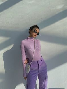 Lila Outfits, Purple Outfits, Colourful Outfits, Grunge Outfits, Retro Outfits, Cute Casual Outfits, Fashion Outfits, Fasion, Purple Fashion