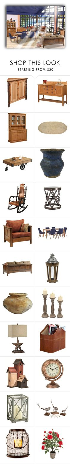 """""""Rustic Cabin"""" by traci-walker-rathman ❤ liked on Polyvore featuring interior, interiors, interior design, home, home decor, interior decorating, DutchCrafters, Coaster, Inspire Q and SONOMA Goods for Life"""