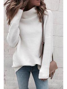 Dailygirlm Fashion Turtleneck Long Sleeve Sweater - - Source by Mode Rock, Long Sleeve Turtleneck, White Turtleneck, Pulls, Minimalist Fashion, Types Of Sleeves, Ideias Fashion, Fall Outfits, Work Outfits