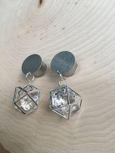 Silver Diamond Dome Dangle Plug Gauges 4g 2g 0g 00g 7/16