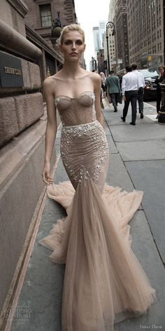 inbal dror 2016 wedding dress with strapless sweetheart fit flare mermaid wedding dress taupe color train style 05 mv