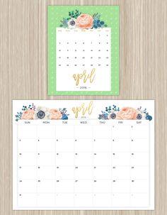 printable floral calendar - april