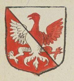 Charles BERNARD, Ecuyer, Sieur de la Riviere. Porte : d'argent, tranché de gueules, à un aigle de l'un en l'autre | N° 119 > Angers