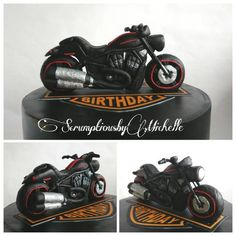 Harley Davidson themed cake with the Night Rod topper, handmade out of fondant. The Night Rod is based on an actual model owned by the birthday boy himself. Flames were also hand-cut from fondant using Jessica Harris' template in her blog. I then...