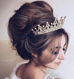 messy+beehive+wedding+updo+with+tiara