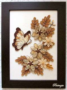 Quilled flowers with butterfly