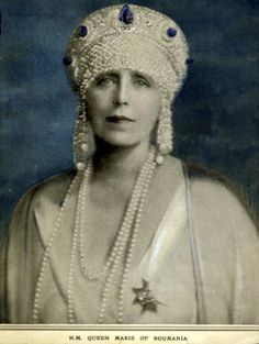 Romania Queen Mary (QueenMarie) wearing a Sapphire Cartier Crown decorated with pearls and decorations