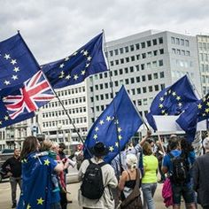 Anti-Brexit activists take part in March in front of EU headquarters