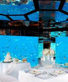 An undersea wedding reception at Anantara Kihavah Villas, Maldives