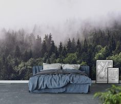 Cloudy forest tapet Home Decor Bedroom, Bedroom Murals, Bedroom Themes, Dream Bedroom, Forest Wallpaper, Photo Wallpaper, Wall Wallpaper, Bedroom Wallpaper, Forest Theme Bedrooms