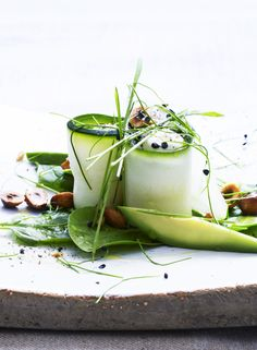 Zucchini Rolls with Whisked Lemon Ricotta, Toasted Hazelnuts and Garlic Cress @ Have a Yummy Day