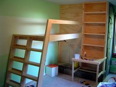 DIY playhouse loft | DIY Loft Bed w nice angles for rail/ladder