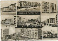 Prentbriefkaart 'Moderne flatbouw Den Haag' met 9 foto's: Bezuidenhout (Koningin Marialaan), Morgenstond, Resedastraat, Sportlaan/Segbroeklaan, Laan van Clingendael, Bouwlust, Kijkduin, Oranjeflats, Duttendel