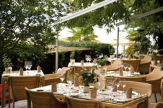 """Terrace of the """"Table d'Hôtes"""" restaurant at the Beatus. Terrace, Restaurants, Table Decorations, Furniture, Home Decor, Diners, Homemade Home Decor, Patio, Terraces"""