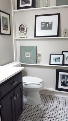 half bathroom makeover at Southern Abbey- love these shallow shelves for our half bath! Downstairs Bathroom, Small Bathroom, Bathroom Wall, Bathroom Shelves, Shallow Shelves, Thin Shelves, Narrow Shelves, Half Bath Decor, Basket Weave Tile