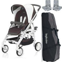 Inglesina Trilogy Stroller, Caffe + Free Inglesina Stroller Bag, Black + Inglesina Trilogy Adapters