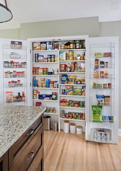 Glamorous Kitchen Pantry Organizers Systems With Over The Door Pantry Storage Rack From Stainless Steel Wire On Shallow Pantry Closet Storage Ideas from Kitchen Pantry Ideas Kitchen Pantry Design, Kitchen Organization Pantry, Kitchen Pantry Cabinets, Pantry Storage, Kitchen Storage, Pantry Ideas, Pantry Closet, Pantry Room, Organized Pantry