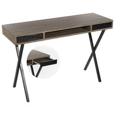 Magnificent #wooden #console with metal legs and black drawers. www.inart.com