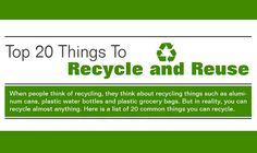 Top 20 Things to Recycle and Reuse #infographic