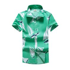 c01439b71e3 2018 Fashion Mens Short Sleeve Hawaiian Shirt Summer Breathable cool