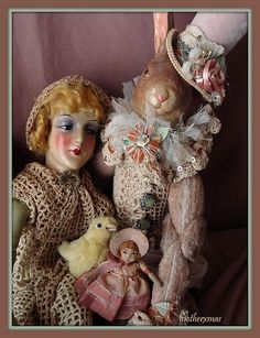 anita flapper boudoir doll with easter bunny