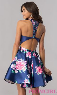 Navy Blue Homecoming Dress with Floral Print Image of short navy blue homecoming dress with floral print. Style: Back ImageImage of short navy blue homecoming dress with floral print. Style: Back Image Navy Blue Homecoming Dress, Floral Homecoming Dresses, Hoco Dresses, Sexy Dresses, Cute Dresses, Evening Dresses, Fashion Dresses, Casual Dresses, Formal Dresses