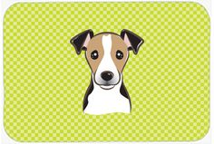 Checkerboard Lime Green Jack Russell Terrier Mouse Pad, Hot Pad or Trivet BB1323MP