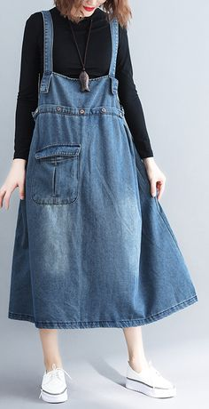 Simple denim blue cotton Tunic Organic Outfits pockets Spaghetti Strap A Line Dress Jumper Dresses: 15 Outfit Ideas and Options to Shop Now Modest Fashion, Boho Fashion, Fashion Outfits, Womens Fashion, Fashion Design, Dress Outfits, Cute Hipster Outfits, Stylish Outfits, Sewing Dress