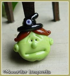 Witch Halloween Lampwork Bead by moonrakerbeads on Etsy, $10.50