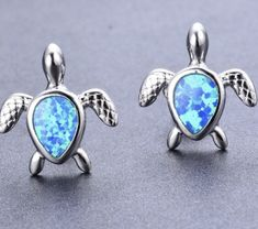Buy Cute Turtle Fire Opal Stud Earrings Womens 925 Sterling Silver Jewelry Gifts Tortoise Ear Studs (Color: Blue,White) at Wish - Shopping Made Fun Double Earrings, Turtle Earrings, Opal Earrings, Statement Earrings, Lobe, Silver Ring Designs, Ear Studs, Jewelry Gifts, Jewellery