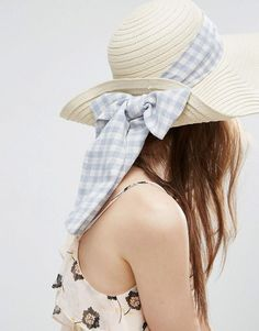 aae6263ba91 Asos Floppy Straw Hat With Gingham Band
