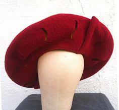 Slashed Wool Tellerbarret Renaissance Hat.