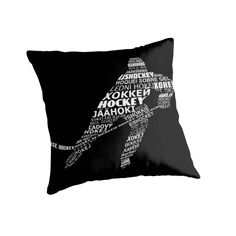 """Typographic Hockey Languages "" Throw Pillows by gamefacegear 