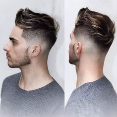Manly Haircuts - Low Taper Fade with Quiff and Thin Beard
