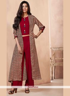 Work Type: Print Top Color: Red Bottom Color: Red Jacket Color: Brown Fabric of Top: Rayon Bottom Fabric: Rayon Jacket Fabric: Linen Satin Top Length: 16 inches Bottom Length: 39 inches Jacket Length: Simple Dresses, Casual Dresses, Fashion Dresses, Fashion Pants, Western Dresses, Indian Dresses, Collection Eid, Shrug For Dresses, Kurti Embroidery Design