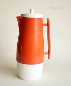 Vintage Retro 1960s/70s ORANGE Pitcher Jug ALADDIN Thermos Flask by UpStagedVintage on Etsy