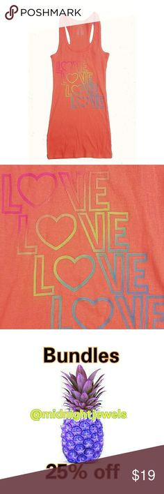 NEW Coral Blue Pink Love Tank Top Neon Medium Gorgeous shirt perfect for All Occasions. Would look good with leggings jeans or shorts.   . Size Medium    . Condition NEW   . Fit fitted  . Style Tank Top   . Color Multi   . tag shown  . Bundle & SAVE 25% off 🍍  No additional shipping charge when you purchase more from my closet   Every purchase will be packed with Care & a Special FREE GIFT 🎁   🍍 25% OFF on bundles   Inventory # 379 Tops Tank Tops