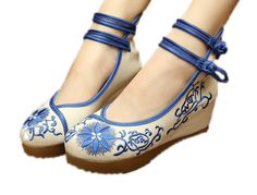 AvaCostume Women's Embroidery Strappy Round Toe Platform Wedges Fashion Size 8 US Blue