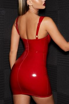 Candy Coated Red PU Patent Faux Leather Vinyl Sleeveless V Neck Stretch Shiny Bodycon Mini Dress Club Outfits, Club Dresses, Sexy Dresses, Evening Dresses, Fashion Dresses, Prom Dresses, Clubbing Dresses, Pleated Dresses, Red Outfits