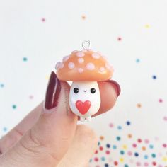 Cute Mushroom Man HOLDING A HEART Necklace por MomoKittyCreations