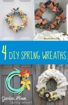 Everybody loves spring! Make your home spring-ready with these wonderful DIY spring wreaths. Welcome your guests with a lovely spring wreath hanging on your front door! See projects ---> http://www.discountqueens.com/4-diy-spring-wreaths/