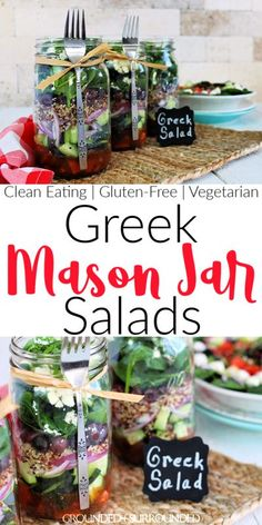 Greek Mason Jar Salad | Prep once and eat a healthy lunch for a week! Mason Jar recipes are super easy and this vegetarian variety is no exception. This low carb layers of deliciousness is a classic take on Greek Salad with quinoa to bump up the satisfaction. Need more clean eating meal prep ideas? Check out G&S! Add chicken or hard boiled eggs if you aren't vegan. If you don't know how to make healthy lunches, you will after this recipe tutorial!  #lunch #salad #cleaneating #glutenfree Mason Jar Lunch, Mason Jar Meals, Meals In A Jar, Mason Jars, Super Healthy Recipes, Healthy Chicken Recipes, Fitness Meal Prep, Easy Fitness, Slow Cooker Balsamic Chicken