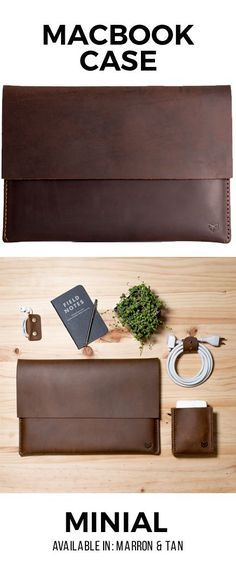 Minial MacBook-Hülle · Marron – Nhilce Esquivel – Join the world of pin Leather Art, Leather Gifts, Leather Design, Handmade Leather, Custom Leather, Leather Jewelry, Leather Laptop Case, Leather Briefcase, Leather Wallet