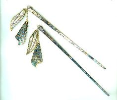 Hair Sticks Blue Paua Shell with Matching by SparklePlentyToo, $20.00