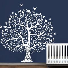 White Tree Wall Sticker Motivation Family Vinyl Bird Baby Room Mural Decor Large #Geckoo #Modern