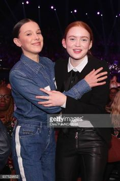 Millie Bobby Brown and Sadie Sink attend Nickelodeon's 2018 Kids' Choice Awards at The Forum on March 24 2018 in Inglewood California