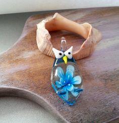 Blue bird owl glass venice glass pendant necklace gift idea #handmade #ringbox