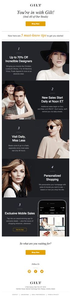 Welcome to Gilt! Here are some short shopping tips. (That ASKII apostrophe in the header is killing me, though.)