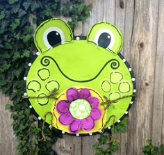 Bright Green Spring Summer Frog with Flower Door Hanger Wreath on Etsy, $55.00