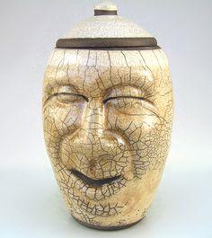 raku pottery ceramic smiling face jug